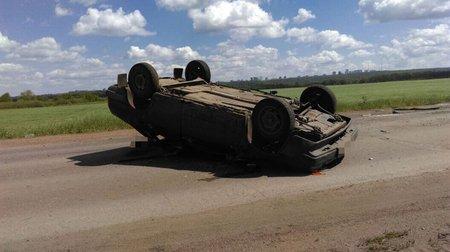 Смертельное ДТП под Уфой: отечественная легковушка перевернулась прямо находу