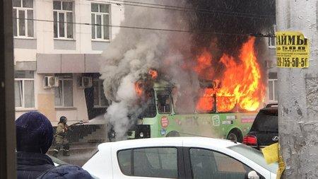 ВУфе около остановки Центральный рынок горел автобус